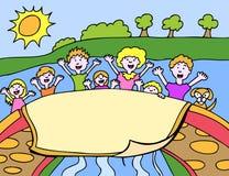横幅孩子 免版税图库摄影
