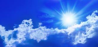 蓝色全景天空星期日 库存照片