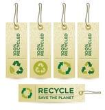 绿色标签被回收的向量 免版税库存图片