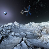 γη που βάζει δορυφορικό & Στοκ Εικόνα