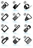 черная белизна комплекта телефона икон Стоковое Изображение RF