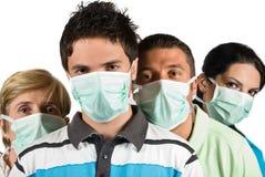 人保护流感穿戴防毒面具 免版税库存照片