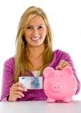περιστασιακή γυναίκα αποταμίευσης χρημάτων Στοκ Εικόνα