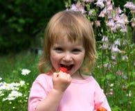 吃女孩少许草莓 免版税图库摄影