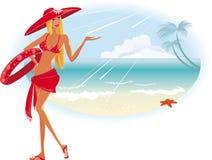 пристаньте лето к берегу девушки Стоковые Изображения