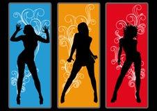 плакат партии девушок рогульки диско Стоковое фото RF