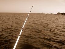 钓鱼在标尺海运 免版税库存照片