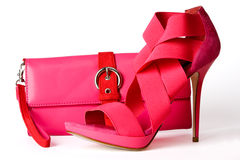 桃红色钱包鞋子 库存图片