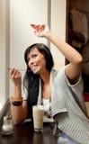 девушка кофе кафа Стоковые Фотографии RF