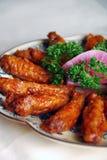 鸡瓷可口食物油煎的翼 免版税图库摄影