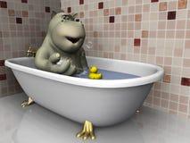 浴缸动画片河马 免版税库存照片