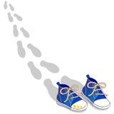 голубые ботинки Стоковая Фотография