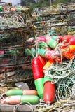 螃蟹浮动绿色红色 库存图片