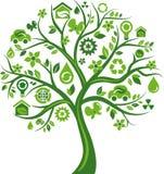与许多环境图标的绿色结构树 免版税库存照片
