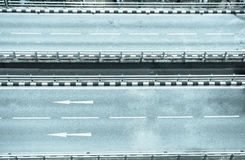 None car on highway. Empty of road in city, cold tone Stock Photos