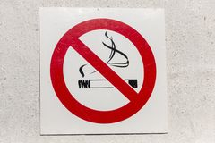 A None Smoking Sign. A clsoe up view of an none smoking sign on a white baclground royalty free stock photography
