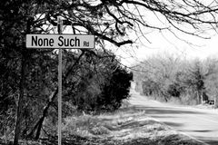 None Such. Road sign on a small back road stock photo