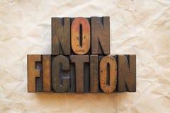 Nonfiction. The word Nonfiction written in vintage wood letterpress type stock photos