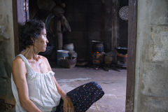 Nong Khai, Thailand- septemBER 07, 2016 : old woman in home near. Grandmother sit in her house Royalty Free Stock Image