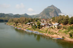Nong Khiao at river Nam Ou in Laos Royalty Free Stock Image