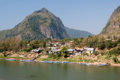 Nong Khiao at river Nam Ou in Laos Royalty Free Stock Photography