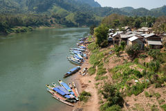 Nong Khiao at river Nam Ou in Laos Stock Images