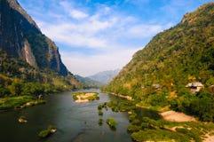 Nong khiaw河,北老挝 免版税库存照片
