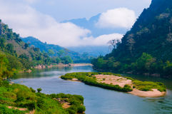 Nong khiaw river, Northern of Laos stock image