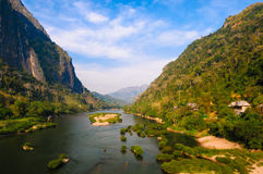 Nong khiaw river, Northern of Laos. Nong khiaw river, view from briddge Northern of Laos Royalty Free Stock Photos