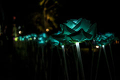 Nong Prajak Public Park Udon Thani, Thailand bokeh LED flowers colorful illuminated plastic optical fibers in dark back.  royalty free stock photos