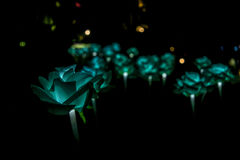 Nong Prajak Public Park Udon Thani, Thailand bokeh LED flowers colorful illuminated plastic optical fibers in dark back.  stock images