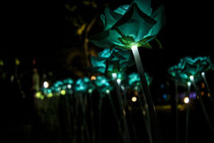 Nong Prajak Public Park Udon Thani, Thailand bokeh LED flowers colorful illuminated plastic optical fibers in dark back.  royalty free stock image
