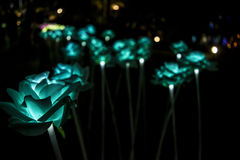 Nong Prajak Public Park Udon Thani, Thailand bokeh LED flowers colorful illuminated plastic optical fibers in dark back.  stock photos