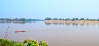 Nongkhai, Thailand - March 16: The water in the Mekong River is Royalty Free Stock Photo