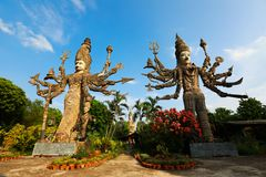 Nongkhai, Thailand. April 29, 2017 Sala Keoku, the park of giant fantastic concrete sculptures inspired by Buddhism and Hinduism. It is located in Nong Khai stock image