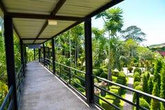 Nongnooch热带庭院天空走廊  免版税库存图片