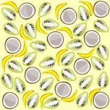 Noni coconut banana background. Vector graphic illustration design art Stock Photo