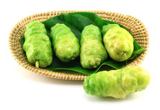 Noni fruits in basket Stock Images