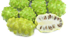 Noni Indian Mulberry frukt. Arkivfoto