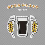 Nonic pint beer glass and two wheat spikes stickers. Beer logo, vector illustration Stock Photos