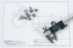 Noniuszu caliper z śrubą, dokrętki rygle - i - Obraz Stock
