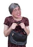 Nonna brutta divertente, nonna, o zia nubile timida immagini stock