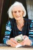 Nonna che conta i soldi di pensionamento a casa Immagine Stock