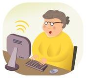 Nonna di calcolo del Internet senza fili Immagini Stock Libere da Diritti