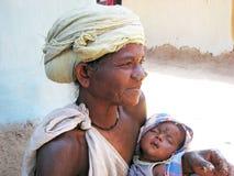 Nonna e nipote tribali indiani Fotografia Stock Libera da Diritti