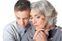 Nonna e nipote tristi Immagine Stock Libera da Diritti