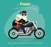 Nonna e nonno che guidano un motociclo Fotografie Stock