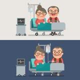 Nonna e nonno in una stanza di ospedale Immagine Stock Libera da Diritti