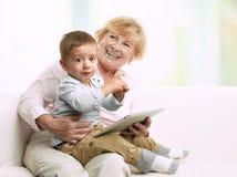 Nonna ed il suo nipote Fotografie Stock