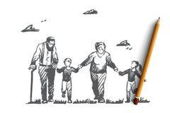 Nonna, nonno, nipoti, famiglia, concetto della generazione Vettore isolato disegnato a mano illustrazione vettoriale